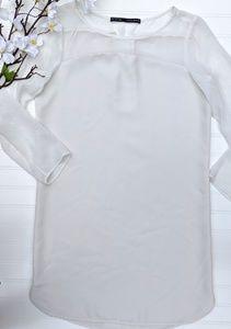 Zara Off-White Long Sleeved Shift Dress